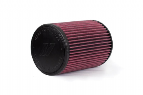 "Mishimoto Performance Air Filter, 4"" Inlet,  7"" Filter Length, Red"